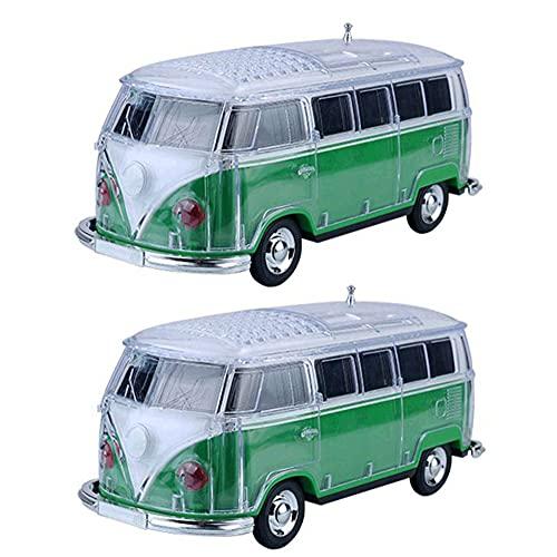 SPARKX Altavoz Bluetooth Portátil Inalámbrico, Mini Altavoz del Modelo De Bus, Luces De Colores con Manga De Cristal, Multifunción, Multicolor Opcional (2 Piezas),Verde,21~8~9.5 cm
