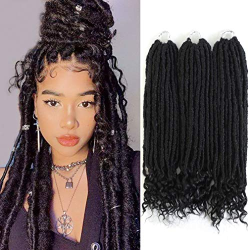 6 Pcs 16'' Goddess Faux Locs Crochet Hair Extensions Black Goddess Locs Crochet Hair with Curly Ends Pre Looped Synthetic Crotchet Braids Dreadlock Extensions for Women, 144 Strends, 420g