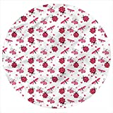 LCGGDB Ladybugs Flannel Throw Blanket,Dragonfly Ladybugs Hearts Printed Soft Receiving Blanket Baby Shower Swaddle Blanket for Crib or Stroller, Round 31.5 Inches