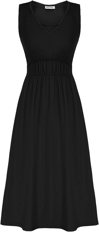 GRACE KARIN Womens V Neck Casual Swing Dress Empire Waist Long Flowy Dresses