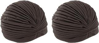 MagiDeal Fashion Lady Plain Turban Hat Hijab Cap Pleated Head Wrap Hair Loss Chemo Hat Indian