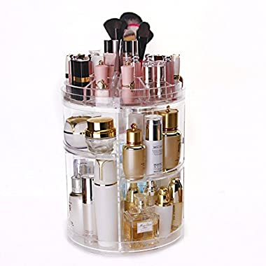 Makeup Organizer 360 Degree Rotation, Adjustable Multi-Function Cosmetic Storage Box Display, Large Capacity, 3 Layers, Fits Toner, Creams, Makeup Brushes, Lipsticks and More (Circle, Clear)