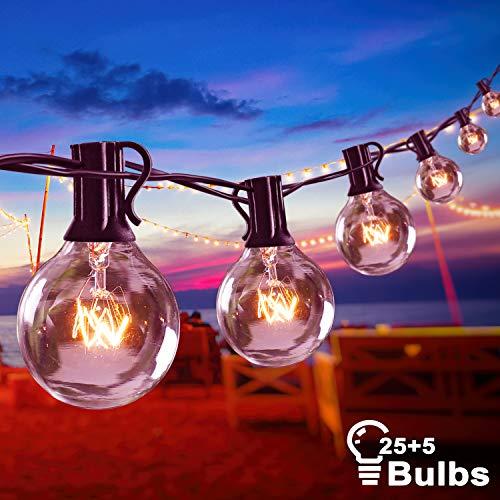 Aimosen Catena Luminosa Esterno 10.5M G40 Luci da Esterno 25 + 5 Lampadine Globe Luci Stringa Impermeabile IP44 Decorazione per Party Garden Balcone Terrazza Bianco caldo [Classe energetica A+]