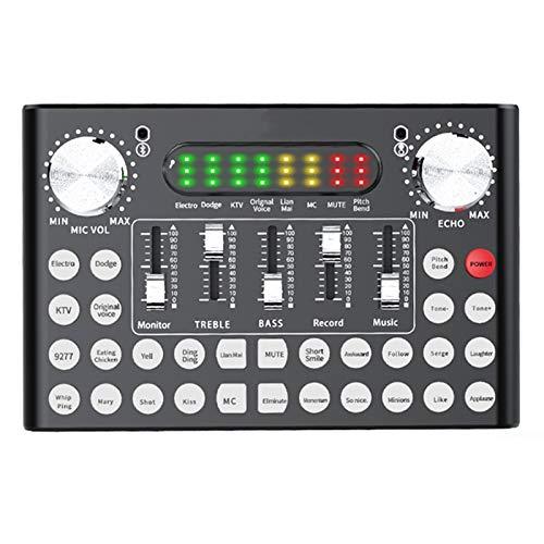 Mezclador de Audio Mini Sound Mixer Board Inteligente Control de Voz LED Luz Bluetooth 5.0 Reducción de Ruido de una tecla Sincronización de micrófono Dual 110 V para Profesionales y Principiantes