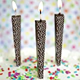 Premium Chocolate Birthday Candles, Edible Cake Topper, Non-Melting, Dark Chocolate, Sprinkles, Pack of 12