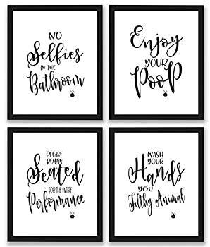 Bathroom Quotes and Sayings Art Prints   Set of Four Photos 8x10 Unframed   Great Gift for Bathroom Decor