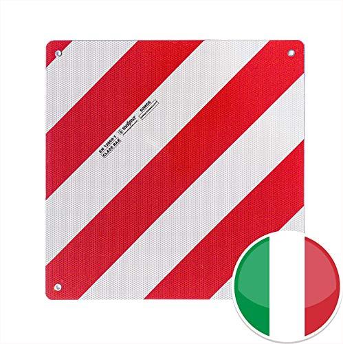 MAGMA Warntafel für hinten, Italien. Für Fahrradträger, Heckträger, Anhänger, Warnschild für Wohnwagen, Wohnmobil, Auto. Urlaub, Camping, Abschleppen Rot-weiße Streifen, reflektierend