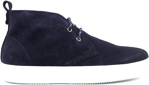 Trussardi Jeans 77A00163 Bleu paniers Chaussures à Lacets en Velours Homme Chaussure De Sport Décontracté