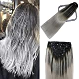 Lashup Balayage Natural Black Fading to Silver Gray Real Human Remy Virgin Hair Extensions Full Head Thinckend Double Weft (#1btGray 120g 18Inch 7PCS) No Tangling No Shedding