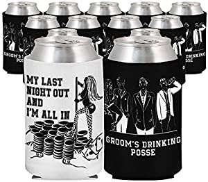 """Bachelor Beer Coolies - 13 total -""""My Last Night Out and I'm All In"""" &""""Groom's Drinking Posse"""" 1 Unique White One for the Groom and 12 Black for the Groomsmen - Premium Neoprene & Stitching from Amazing Night Productions"""