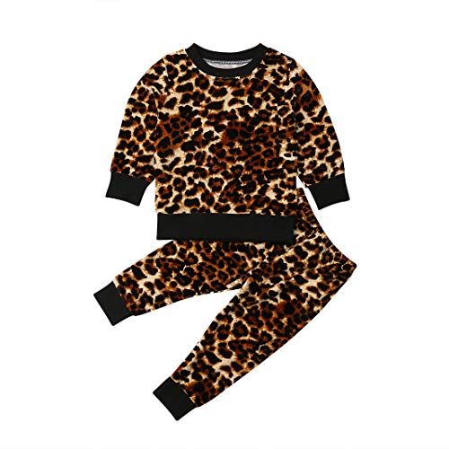 Toddler Baby Girl Leopard Velvet Outfit Long Sleeve Sweatshirt Tops and Pants 2pcs Kids Clothes Fall Winter (Brown, 5-6T)