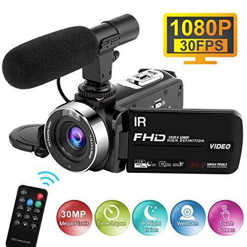 Videocamara con Micrófono 1080P 30FPS 30MP Video de Cámara Full HD Time-Lapse...