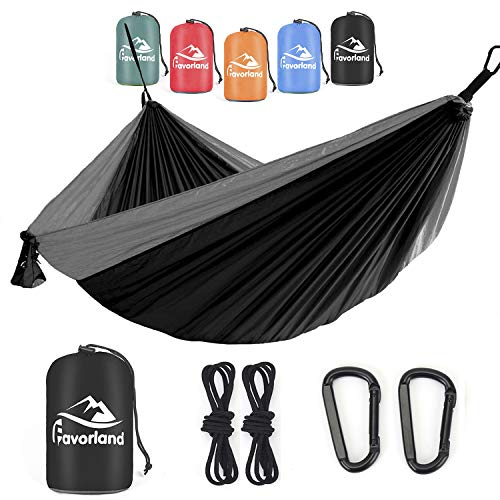 Favorland Camping Hammock Double & Single with Tree Straps for Hiking, Backpacking, Beach, Yard - 2 Persons Outdoor Indoor Lightweight & Portable with Straps & Steel Carabiners Nylon(Black-Grey)