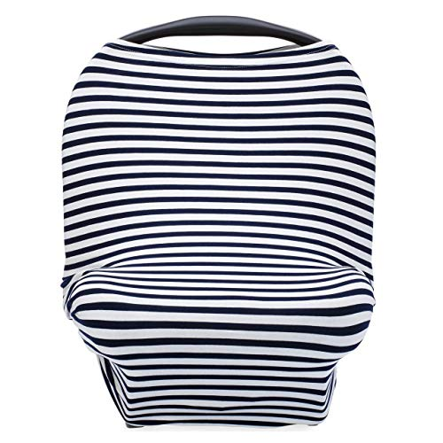 Parker Baby 4 in 1 Car Seat Cover for Boys - Stretchy Carseat Canopy, Nursing Cover, Grocery Cart Cover, High Chair Cover - Navy/White Stripes