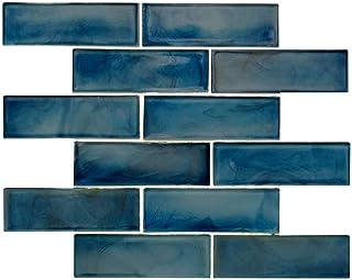 amazon com glass tiles blue glass