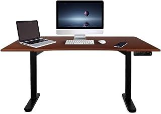 Fortia 160cm Wide Motorised Height Adjustable Ergonomic Standing Desk for Office or Home, Walnut with Black Frame