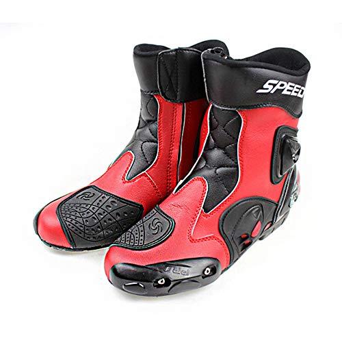 MRDEAR Botas Protectoras para Motociclismo Hombre Botas de Moto de Cuero Botas de Motocross con Ventilación Ajustable, Rojo (43 EU)