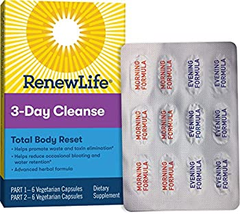 Renew Life Adult Cleanse Total Body Reset Advanced Herbal Formula - 2-Part 3-Day Program - Gluten Dairy & Soy Free - 12 Vegetarian Capsules