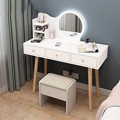Weißer Massivholz-Waschtisch mit LED 3-Farben-Lichtspiegel, Make-up-Tisch mit 3 Schubladen Aufbewahrungsregalen, Waschtisch mit gepolstertem gepolstertem Hocker, für Mädchen, Schlafzimmer