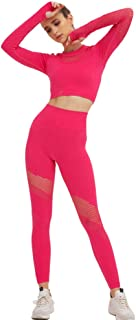 XFKLJ Sports Bras Yoga Pants Women Sport Suit Hollow Out Yoga Set Gym Workout Clothes Long Sleeve Fitness Crop Top High Wa...