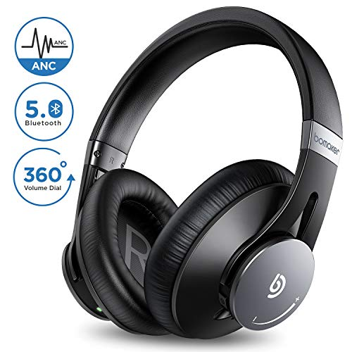 BOMAKER Cuffie Wireless, Bluetooth 5.0 ANC Headphones Over Ear Cancellazione Attiva del Rumore con CVC 8.0 Microfono, Earbuffs Proteiche con Borsa, Compatibile con Android/iOS/Tablet, Dolphin Ⅰ, Nero