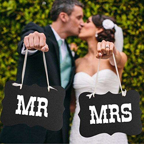 Dealglad® - Ensemble en carton « Mr » et « Mrs » (inscriptions en anglais) - Pour la mariée et le marié - Accessoire pour photo, chaise et animations -Décoration de fête de mariage