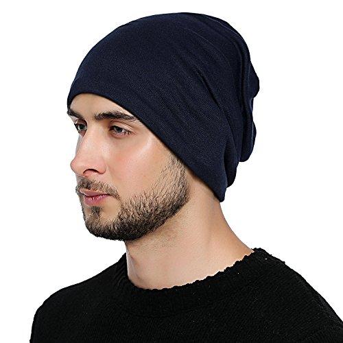 DonDon Hombre Jersey Gorro para todo el año clásico flexible gorro transpirable suave y adaptable a cualquier talla de cabeza - Azul oscuro