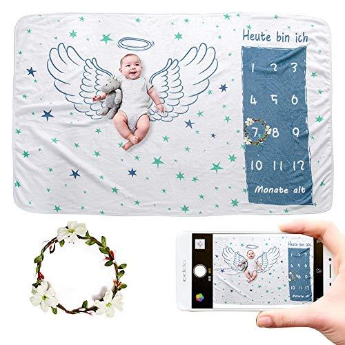 JMITHA Baby Monats Decke, Neugeborene oenbopo Baby Monatliche als Foto Hintergrund mit Meilenstein-Druckmuster (Engel's Flügel A) 100x150cm
