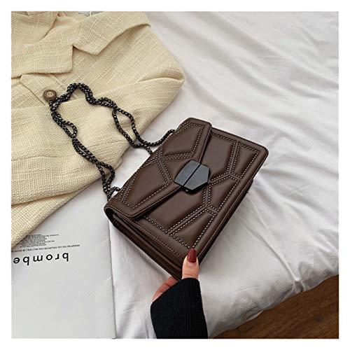 Youpin Bolsos cruzados de cuero sintético con cadena de remache para mujer 2021 Simple Fashion Shoulder Bag Lady Luxury Small bolsos (color: café, tamaño: 23,5 cm x 16,5 cm x 9,5 cm)