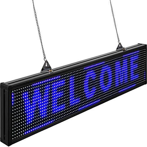 VEVOR Rótulo LED Electrónico 100 x 20 x 5,5 cm Letrero de Desplazamiento LED 96 x 16 Píxeles Letrero LED Rectangular Pantalla LED Publicitaria Azul para Centros Comerciales, Publicidades, Negocios