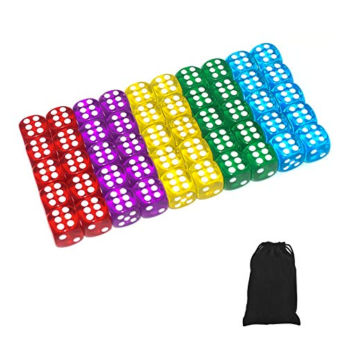 50 of Pack 14MM 6 Sided Dice Set Translucent Colors Dice, with Black Pouch for Board Game