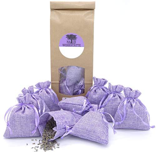 12 Lavendelsäckchen mit 120g getrockneten Lavendelblüten aus französischer Provence, Duftsäckchen zum Einschlafen, Duftsäckchen gegen Motten für Kleiderschrank, Lavendelbeutel, Handverpackt in DE