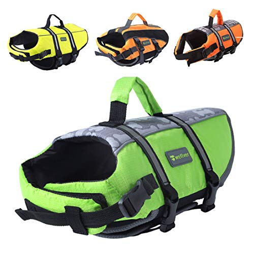 Wellver Dog Life Jacket Pet Life Preserver Saving Vest with Reflective Strips,Small,Green