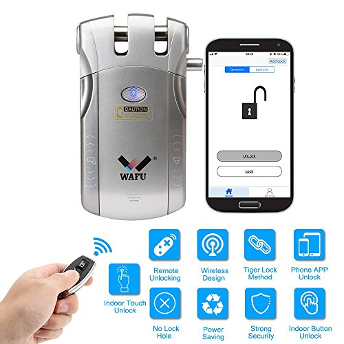 WAFU Smart deurslot WF-010U Wireless Security onzichtbare Keyless Entry Deur Intelligent Lock Home Smart afstandsbediening vergrendeling iOS Android APP ontgrendeling met 4 Remote Keys, zilver zilver