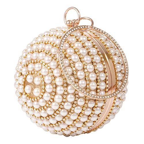 LONGBLE Abendtaschen Perle Kugel Clutch Damen Handtasche Strass Umhängetasche Geldbörse Handgelenk Tasche Perle Mini Tote Sparkling Geburtstag Weihnachten Geschenk für Hochzeit Party Prom