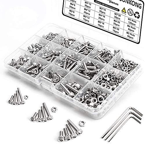 M3 Schrauben Set,M3 M4 M5 Edelstahl-Sechskopf-Knopf Schrauben Schrauben Muttern und Unterlegscheiben Sortiment Kit mit Aufbewahrung flach Fall Box +Schraubenschlüssel