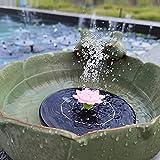 OKESYO Fuente solar para el jardín, bomba solar de 1,4 W, altura de pulverización: 10 cm - 60 cm, caudal 220 l/h, 5 pétalos para jardín, baño de pájaros, recipiente para pescado