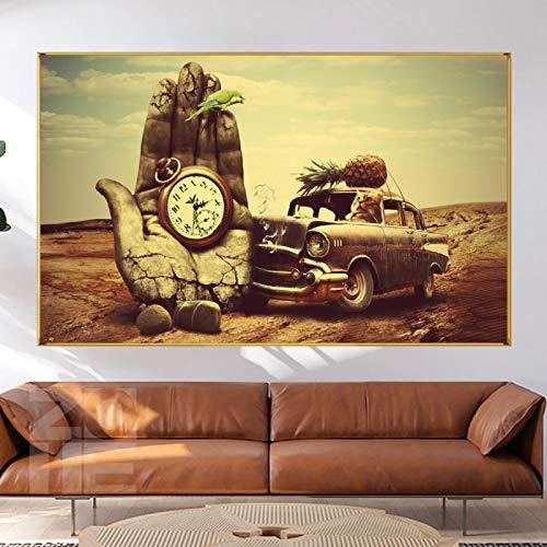 ZXHTY Impresión De Lienzo Cuadro De Arte Gato Drving Coche con Reloj De Bolsillo Lienzo Impreso Pintura Retro Color Decoración De Pared para Habitación del Hogar