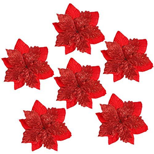 BELLE VOUS Flor de Pascua Artificial Navidad (Pack de 6) Poinsettia Artificial 32 cm Purpurina Roja con Tallo para Adorno Árbol Navidad - Flores Artificiales Manualidades - Guirnalda Flor de Pascua