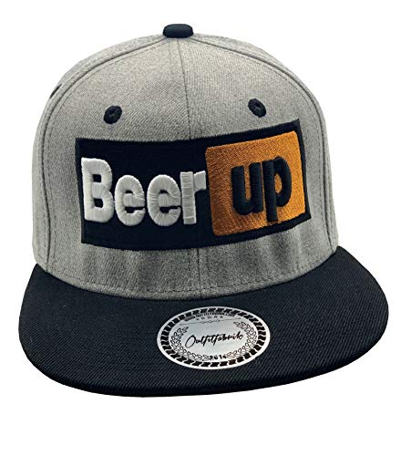 Outfitfabrik Snapback Cap Beer up in grau/schwarz mit 3D-Stick (Festival, Alkohol, Statement, Saufen)