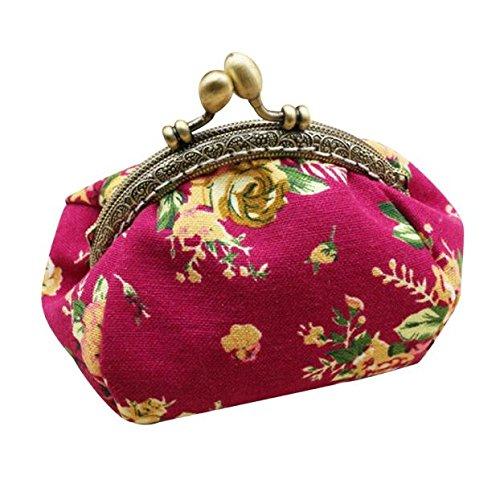 Anliyou Taschen elegant Münzbörse mit Blumen Druck edel kleine Portemonnaie Geldbeutel mit Nationaler Stil Portmonee mit Klippverschluss Retro Vintage Kupplung Schwarz Rot Rosa Weiß