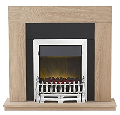 Adam Malmo Fireplace Suite in Oak with Blenheim Electric Fire in Chrome, 39 Inch