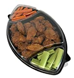 Bardes Plastics 17' Black 3-Cell Football Container with raised flat lid (50/case). Perfect for Taco...