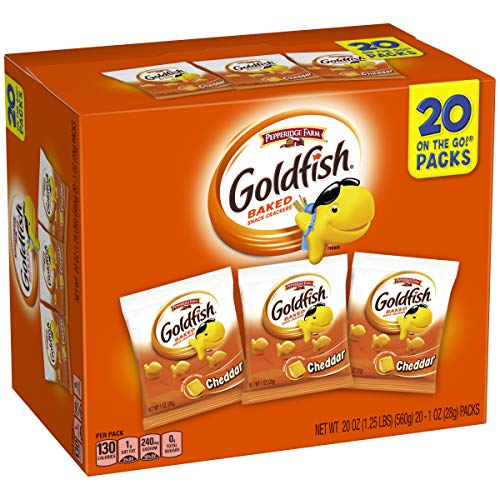 Pepperidge Farm Goldfish Cheddar Crackers, 20 oz. Multi-Pack Box, 20-Count 1 oz. Single-Serve Snack Packs