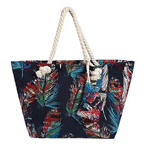 Bolso de Playa Grande Impermeable con Cremallera Bolso de Hombro Plumas de Colores