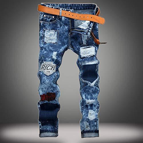 ShFhhwrl Vaqueros de Moda clásica Denim Designer Hole Jeans Ripped For Men Size Otoño Invierno Plus Velvet Hip Hop P