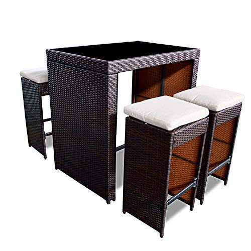 PatioPost 5 Piece Outdoor Patio Wicker Rattan Bar Set with Glass Top Table and Four Cushions Bar Stools,Outdoor Furniture Set for Lawn, Backyards, Gardens,Dining Set or Poolside-Brown