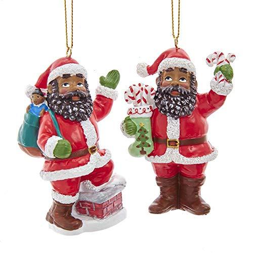 The Bridge Collection Black Santa Claus Ornaments, Set of 2