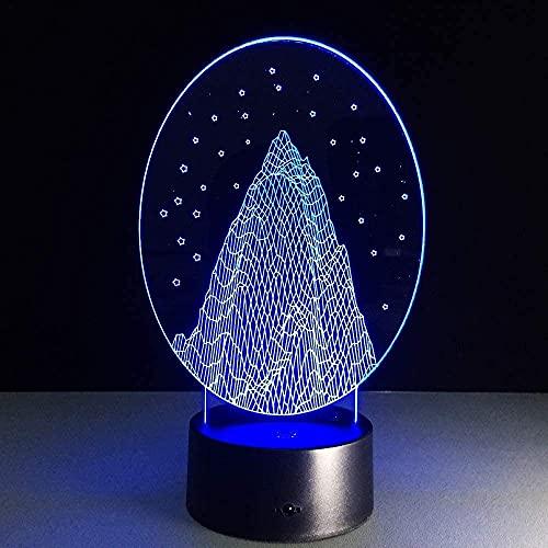 Snow Mountain 3D Photo Illusion Night Light Lámpara de mesa LED 7 colores Touch Light Home Dormitorio Oficina Decoración Niños D Regalo de cumpleaños