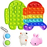 Among in Us Push POP Bubble Sensory Fidget Toys Set, Push Bubbles Pop Pop It, Stress Anxiety Relief Squeeze Silicone Toys for Kids Adults Autism ADHD Special Needs, 6PCS